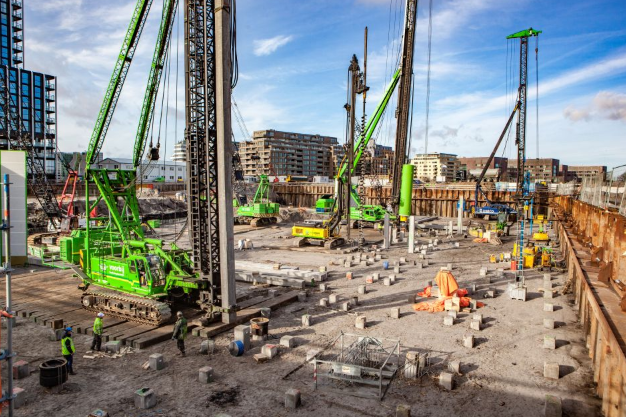 Building foundations at a construction site